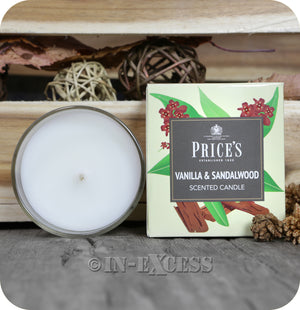 Price's Patent Candle Scented Glass Jar Candle Vanilla & Sandalwood - 349g