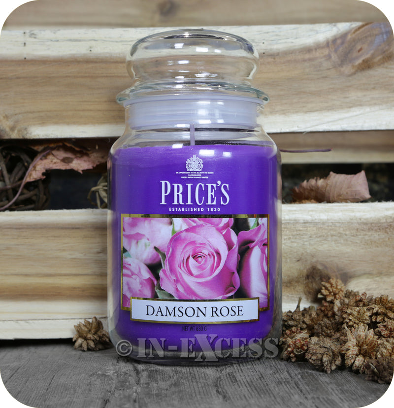 Price's Patent Candle Scented Large Jar Damson Rose - 630g