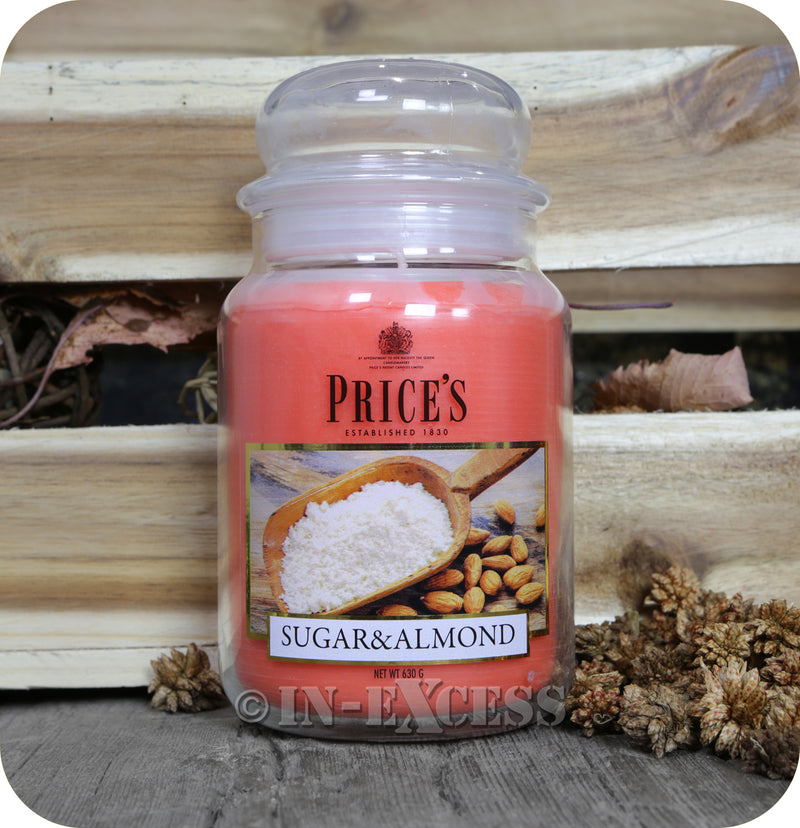 Price's Patent Candle Scented Large Jar Sugar & Almond - 630g