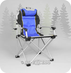 ProMech Racing Fold-Up Paddock Camping Chair with Carry Bag - Riptide Blue