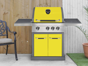 Genuine Jamie Oliver Pro 3 Gas BBQ With 4 Gas Burners, Side Burner Cast Iron Grills - Sunflower Yellow