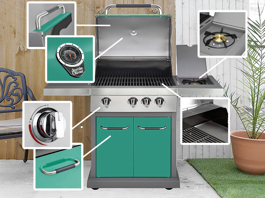 Genuine Jamie Oliver Pro 3 Gas BBQ With 4 Gas Burners, Side Burner Cast Iron Grills - Mint Green