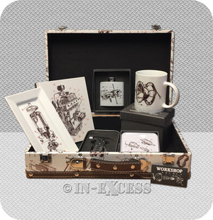 Really Good Workshop Mechanics Engine Gift Set With Hip Flask, China Mug, Notepad, Coasters & Multi-Tool  - 'Workshop'