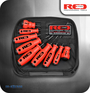 Red Pro Tools Screwdriver Set - 9 Pieces