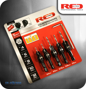 Red Pro Countersink Set with Adjustable Drills - 5 Piece Set