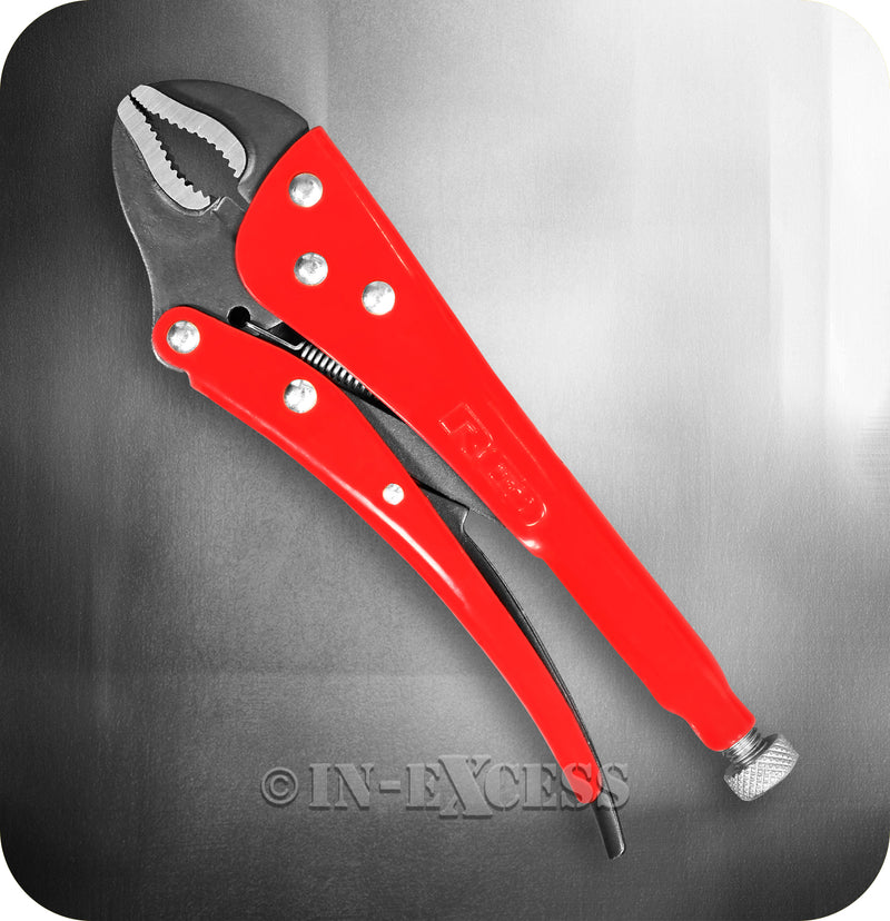 "Red Pro Tools Curved Jaw Locking Handheld Adjustable Pliers - 10"" (250mm)"