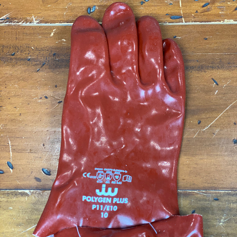 Rhino Red Chemical resistant General Purpose Rubber Gloves Polygen Plus