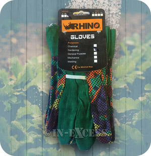 Rhino Skin General Purpose Multi-Coloured Twin Pack Gardener's Garden Gloves - Large