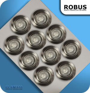 Robus 240V GU10 Downlight Kit Brushed Chrome - Pack of 10 (R201SCMP-13)