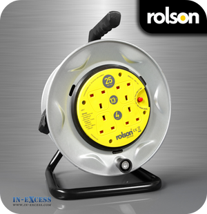 Rolson 4 Socket Cable Reel With Static Faceplate - 25 Metres