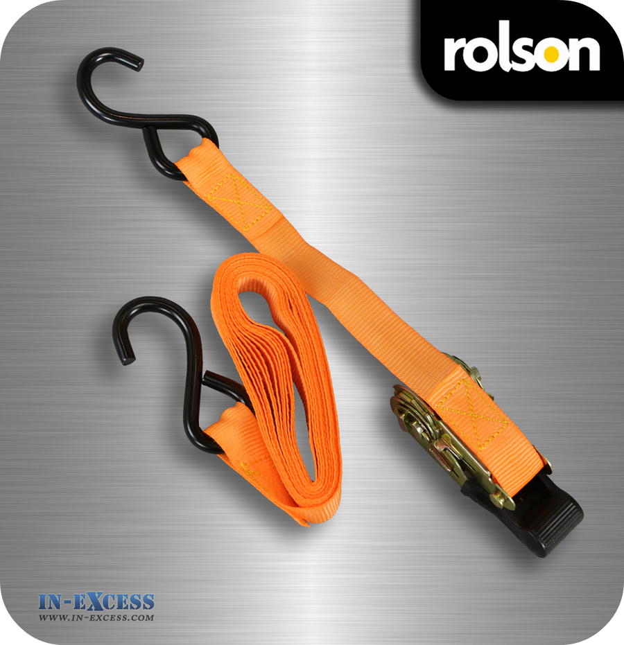 Rolson Ratchet Tie Down Straps 4.5m x 25mm - Pack of 4