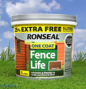 Ronseal One Coat Fence Life 5 Litres - Medium Oak