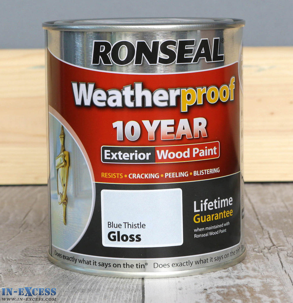 Ronseal Weatherproof 10 Year External Blue Thistle Gloss Wood Paint 750ml