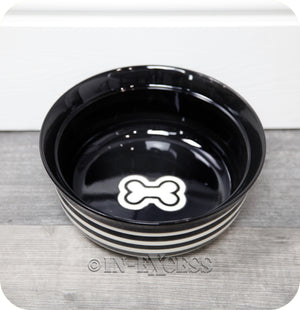 Rosewood Pet Regular Dog Cat Food Feeding Bowl - Black Stripe