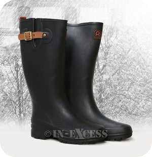 Rouchette Stylish Adjustable Leather Buckle Slim Wellington Walking Boots - Black