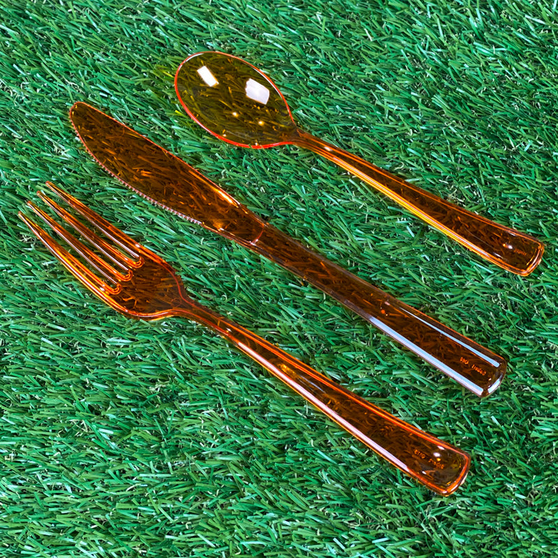 Mozaik Outdoor Picnic Party Cutlery - Pack of 18 - 6 x 3 Piece Place Setting - Orange