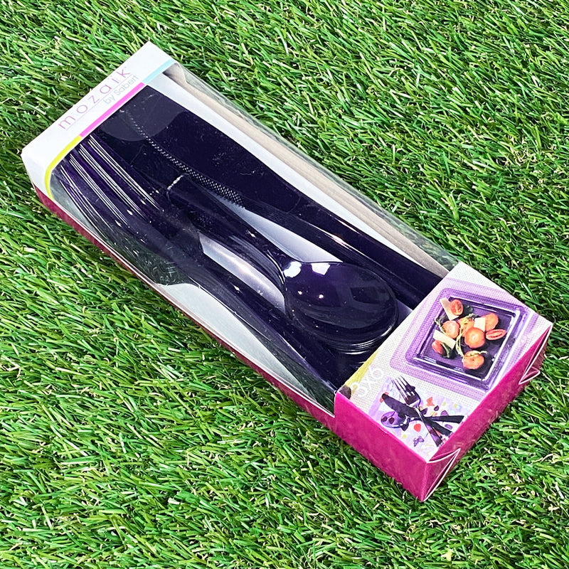 Mozaik Outdoor Picnic Party Cutlery - Pack of 18 - 6 x 3 Piece Place Setting - Purple