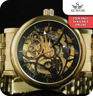 Sewor Eagle Skeleton Mechanical Wrist Watch With Gold Link Strap - Gold & Black