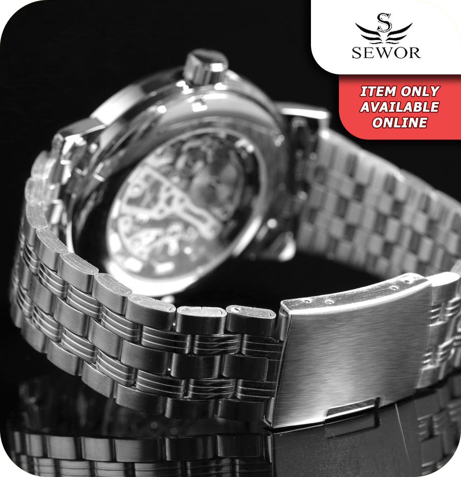 Sewor Eagle Skeleton Mechanical Wrist Watch With Silver Link Strap - Silver & Black