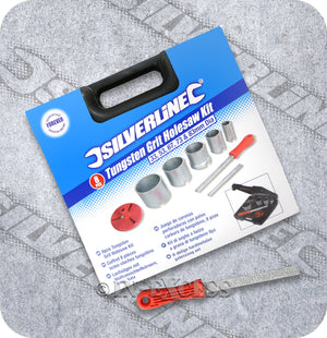 Silverline Power Tool Accessories Tungsten Grit Holesaw Kit With Carbide Grit File - Set of 8