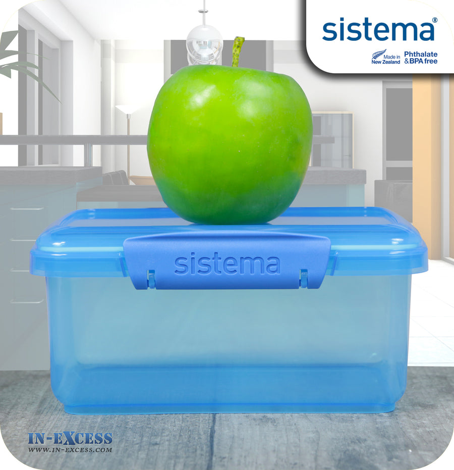 Sistema Klip IT Outdoor Rectangular Picnic Snack Box 1 Litre Blue, Green, Pink - Pack of 3