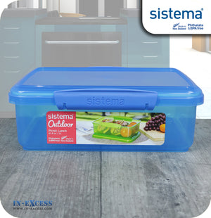 Sistema Klip IT Outdoor Rectangular Picnic Lunch Box 2 Litres - Blue