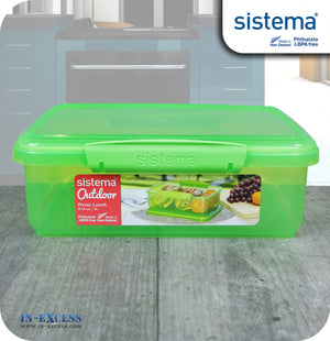 Sistema Klip IT Outdoor Rectangular Picnic Lunch Box 2 Litres - Green