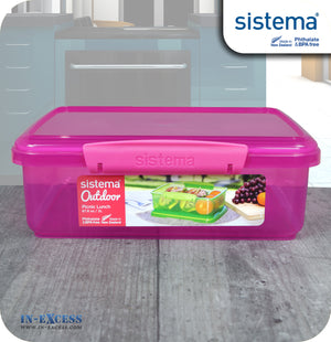 Copy of Sistema Klip IT Outdoor Rectangular Picnic Lunch Box 2 Litres - Pink