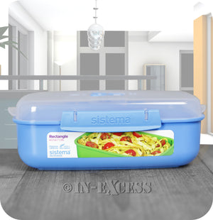 Sistema Klip IT Microwave Rectangular Picnic Snack Lunch Box 1.25 Litres - Blue