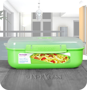 Sistema Klip IT Microwave Rectangular Picnic Snack Lunch Box 1.25 Litres - Green