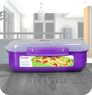 Sistema Klip IT Microwave Rectangular Picnic Snack Lunch Box 1.25 Litres - Purple