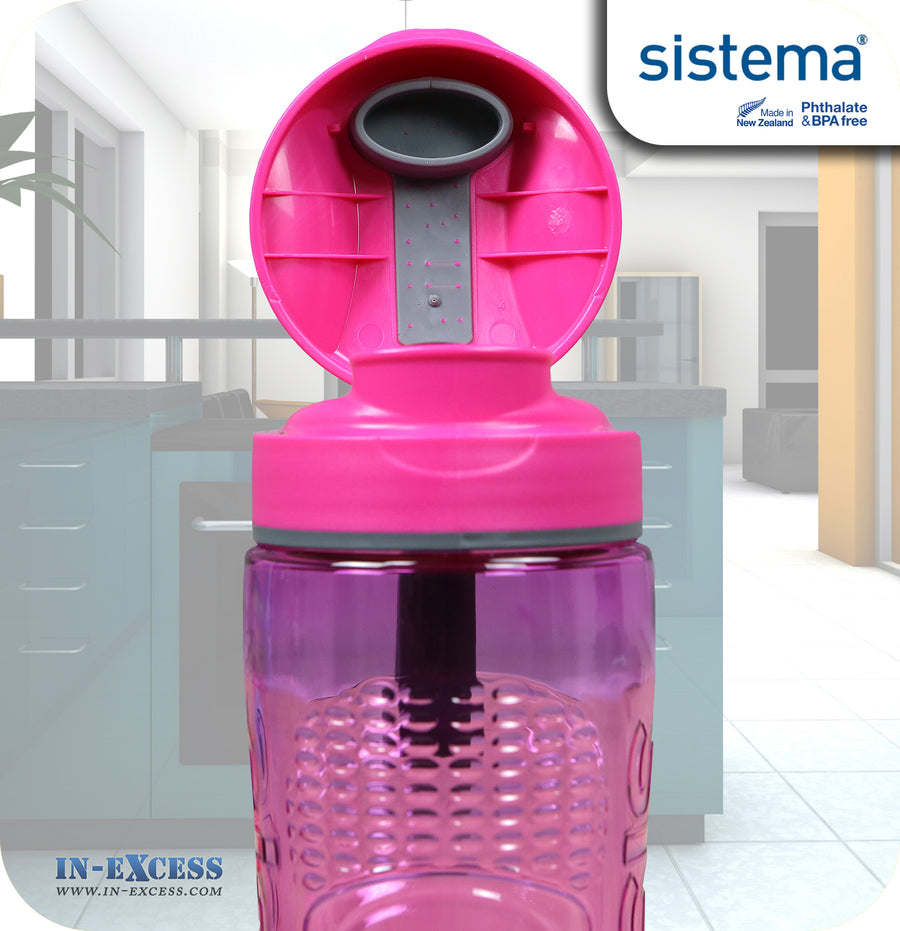 Sistema Outdoor Tritan Active Sports Water Drinks Bottle 800ml - Pink