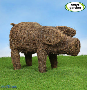 Smart Garden Poppy the Pig Rattan Garden Ornament