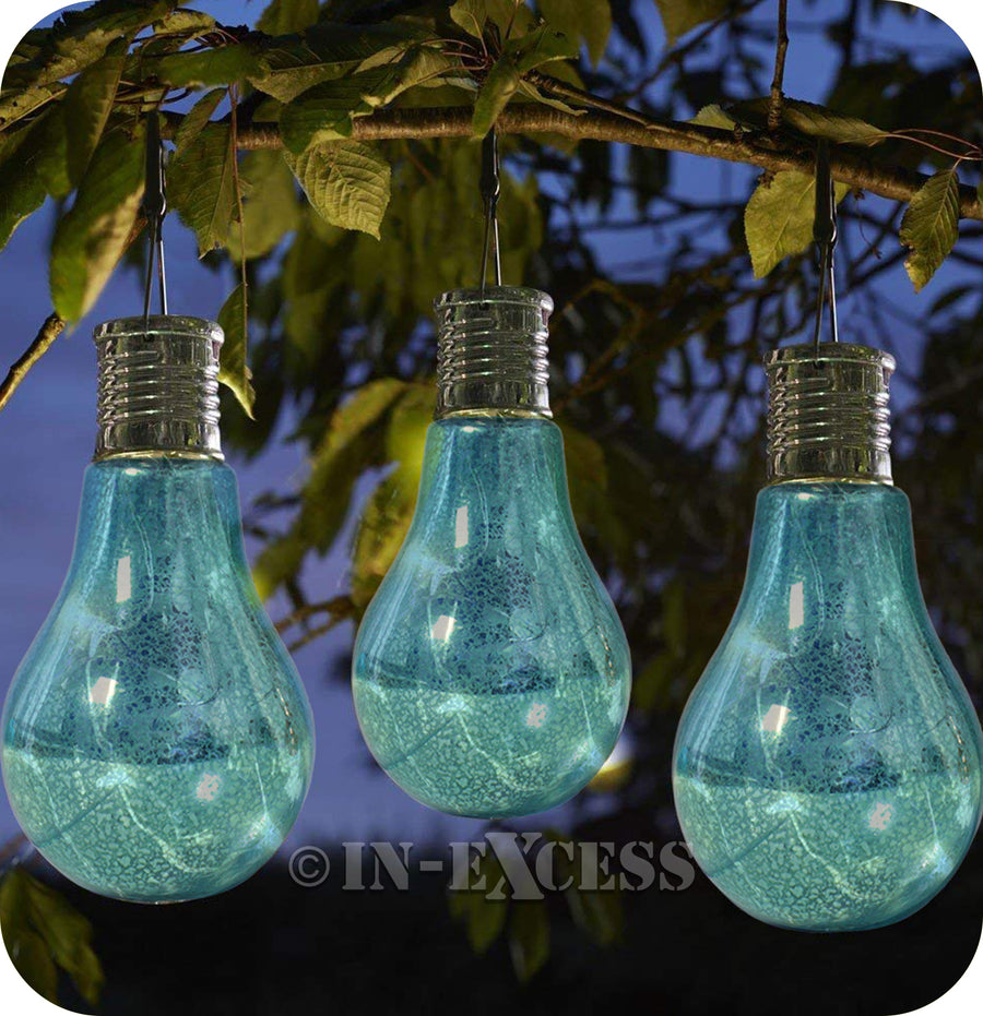 Smart Garden Smart Solar Solar Powered Hanging Glass Light Bulb - Blue Patterned