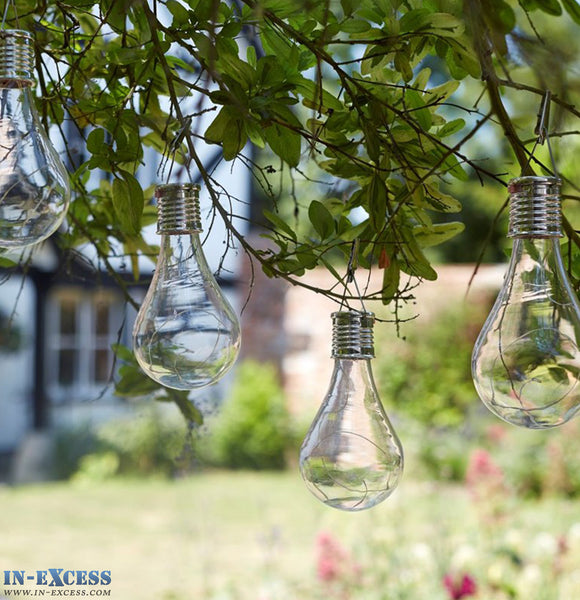 1x Smart Solar Powered Outside Garden Hanging Glass Light Bulb Lighting
