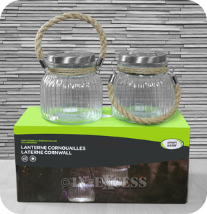 Smart Garden Smart Solar Glass Cornish Solar Powered Decorative Clear Lantern Jar - Double Pack
