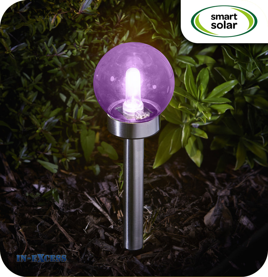 Smart Solar Eureka Solar Powered Retro Orb Ground Stake - Purple