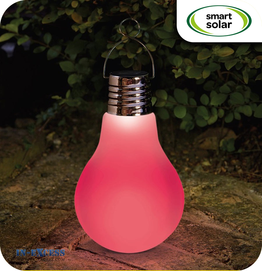 Smart Solar Omega Eureka LED Solar Powered Glass Light Bulb - Frosted Colour Changing Bulb