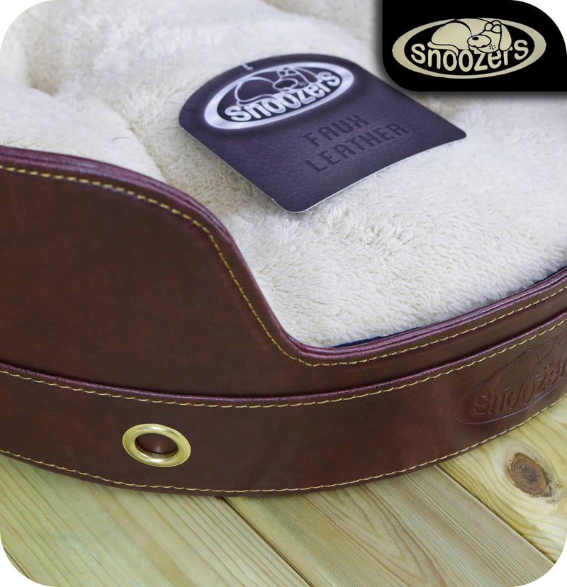 Snoozers Small Faux Leather Pet Bed - For Dogs & Cats