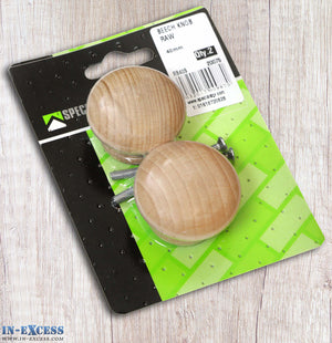 Specialist Hardware Pack of 2 40mm Beech Knob Raw