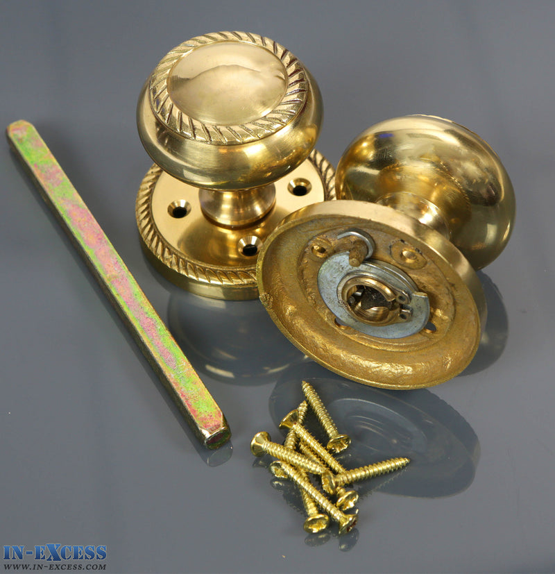 Specialist Brass Geo Mortice Knob, Spindle & Screws