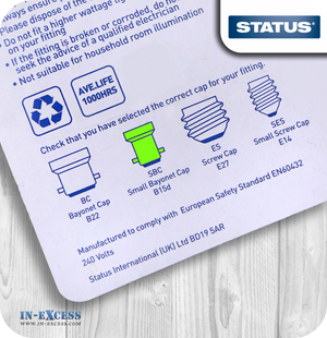 Status Pygmy Light Bulbs Clear SBC/B15 15W - Pack of 2