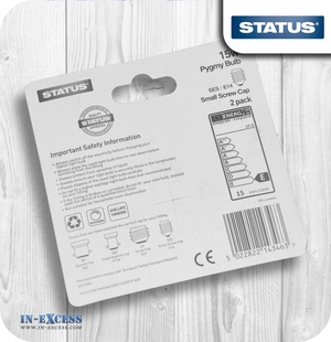 Status Pygmy Light Bulbs Clear SES/E14 15W - Pack of 2