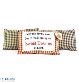 "Novelty ""Sweet Dreams At Night"" Cushion 38 x 23cm Blue, Green or Red"
