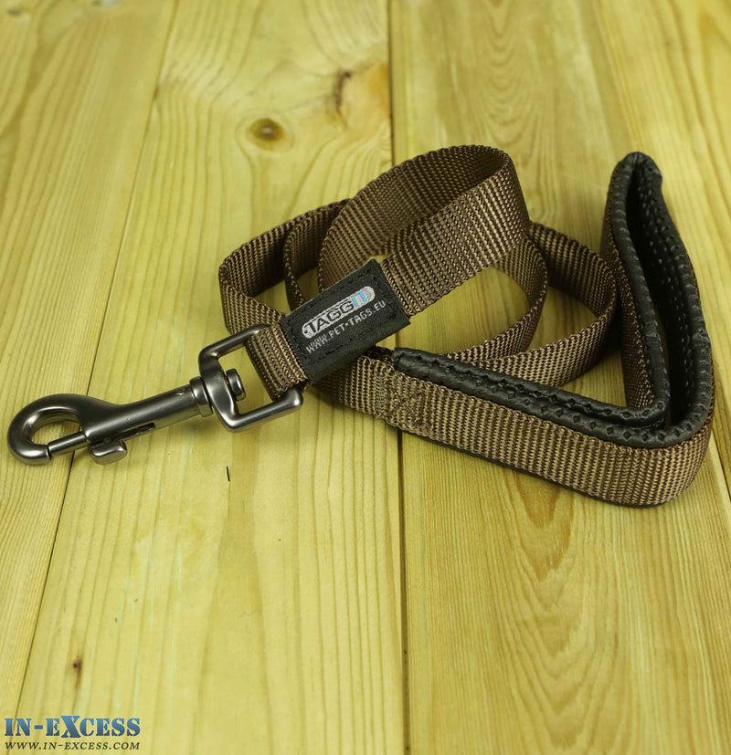 Taggit Nylon Webbed Dog Lead Brown - 1m & 1.2m