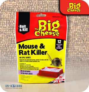 The Big Cheese Mouse & Rat Killer Bait Sachets - 12 Sachets (STV123)