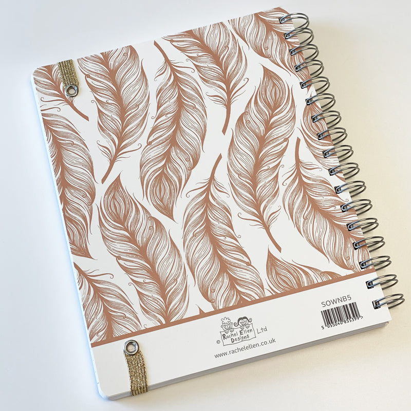 Rachel Ellen Designs Rose Gold Feather design Note Book