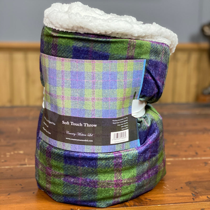 Country Matters Green & Purple checked tweed Pattern Soft Touch Fleece Throw 130 x 150cm