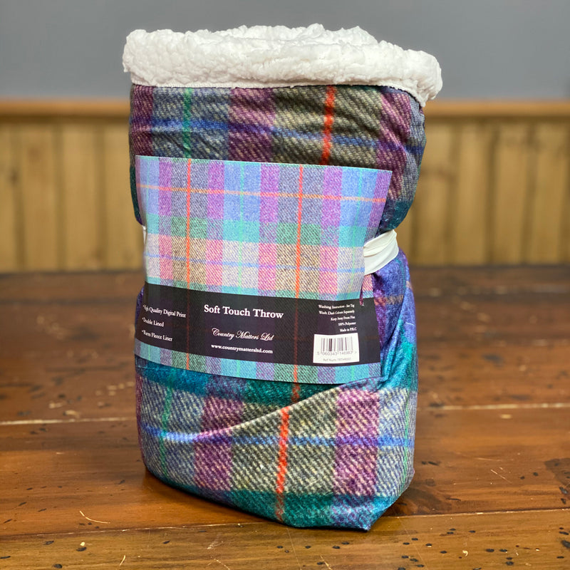 Country Matters Highland mix checked tweed Pattern Soft Touch Fleece Throw 130 x 150cm
