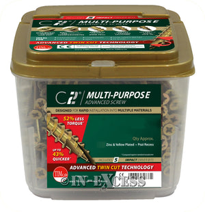 TIMco C2 Multi-Purpose Rapid Impact Advanced Woodscrews - With Free Pozi Drive Insert Bits